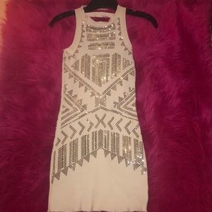 White beaded BEBE mini dress